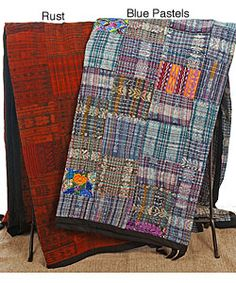 Handmade Blue or Rust Guatemalan Patchwork Quilt (Guatemala) | Overstock.com Shopping - Great Deals on Quilts