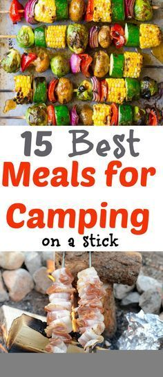Food for Camping - 15 Camping Food On A Stick Recipes 15 Camping Meal Recipes that are perfect to cook over the campfire or on the grill. Breakfast, lunch, and dinner food that is cooked on a stick or skewer. - Its fun cooking for the Camping M Table Camping, Tent Camping, Camping Hacks, Camping Essentials, Camping Checklist, Camping Trailers, Camping Dishes, Camping Foods, Camping Guide