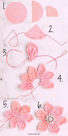 cloth flower making Ribbon Crafts, Flower Crafts, Fabric Crafts, Sewing Crafts, Sewing Projects, Flower Making Crafts, Diy Projects, Diy Crafts, Quilting Projects