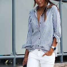 Polyester Women Long Sleeve Shirt, different size for choice, printed, striped, blue - yyw.com