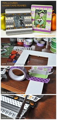 Simple frames decorated with washi tape for Halloween. Simple frames decorated with washi tape for Halloween. Washi Tape Frame, Washi Tape Crafts, Duck Tape Crafts, Washi Tapes, Paper Crafts, Diy Halloween Picture Frames, Picture Frame Decor, Picture Walls, Fun Halloween Crafts