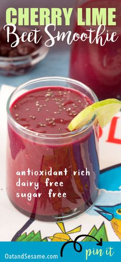 Packed with antioxidants and naturally sweetened, thisCherry Lime Beet Smoothieis refreshing and nutritious. Sweet cherries, a little red beet to sneak in a serving of vegetables - because all smoothies should have them - a dash of chia seeds and lime juice. If you love cherries, this is the smoothie for you! | #BREAKFAST | #CHERRY | #BEETS | #SMOOTHIES | #Recipes at OatandSesame.com
