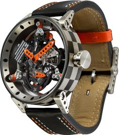 B.R.M. Watches R-50 Orange Hands #bezel-fixed #bracelet-strap-leather…