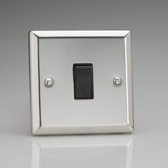 Mirror Chrome Light Switch with Black inserts 1 or 2 way switching Rated at 10amp Suitable for switching either mains or low voltage lighting Bevelled Edge faceplate Dimensions 91x91x25mm BS EN 60669-1 – BRITISH MADE