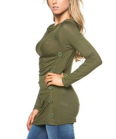 This Olive Ruched Tunic is perfect! #zulilyfinds
