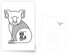 Koala // Greeting Card, Postcard // This is part of a Wildlife of Australia series which also includes Wombat, Kangaroo, Emu and Platypus // Stationery, Greetings, Animal Nursery,  Australian Art Print, Nature Greeting Card, Australian Bird, Australian Animal, Australian Wildlife, Australian Animals Nursery, Animal Retro, Mid-century Animal, Animal Illustration, Australian Art, Australia, Black and White Animal, Stationery