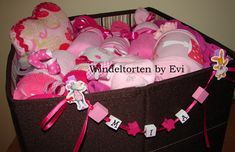 personalized diaper cake or baby gift basket
