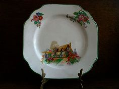 Vintage English Square Cottage Plate by EnglishShop on Etsy, $39.00