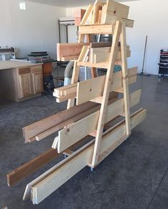 Addicted to diy. Finally lugged my scrap wood cart from the garage to the shop. … Addicted to diy. Finally lugged my scrap wood cart from the garage to the shop. Lumber Storage Rack, Lumber Rack, Wood Storage Sheds, Storage Shed Plans, Ikea Toy Storage, Shop Storage, Diy Storage, Wood Cart, Woodworking Software