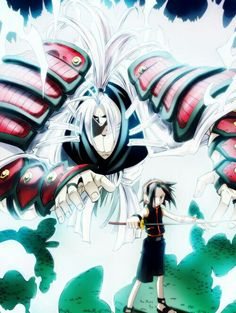 Yoh Asakura and the Spirit of Amidamaru Manga Anime, Anime Art, Manga Art, Geeks, Samurai, Dragon Ball, Japanese Warrior, Fanart, Cool Cartoons