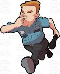 A security guard running after some burglar #cartoon #clipart #vector #vectortoons #stockimage #stockart #art