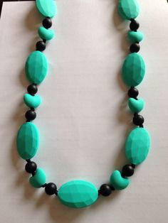 Teal/Black Teething Necklace $30 or 2 for $50 www.facebook.com/hootsybaby