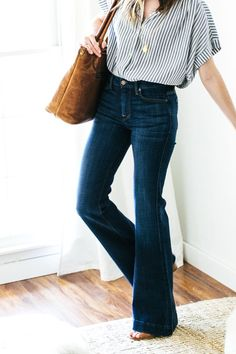 a simple outfit recipe for flare jeans- 7 for all mankind Ginger flare jeans in broken twill