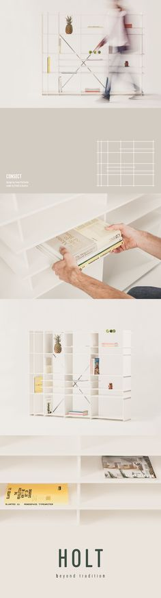 Consect is a minimal shelf made out of one material. Designed by architect Franz… Making Out, Minimalism, Shelf, Shopping, Design, Shelving, Design Comics, Shelves