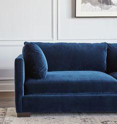 Reupholster Furniture, Bedroom Furniture, Dream Furniture, Furniture Ideas, Living Room Seating, Living Room Sofa, Living Rooms, Blue Velvet Couch, Blue Sofas