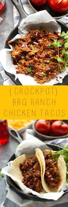 EASY Crockpot BBQ Ranch Chicken Tacos