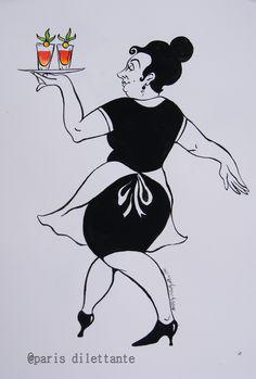 Art Work - paris dilettante Female Paris waitress with jolly cocktails