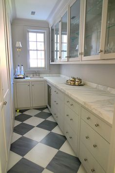 Paris Ceramics gray and white marble floor - nice butler's pantry