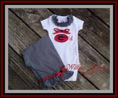 Ga Bulldogs Girl Onesie and Ruffled Pants by WillowRayneDesigns, $38.00..Jessica this is for you!