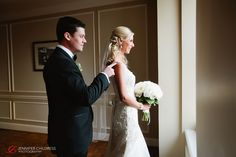 Bride and groom's first look photo at the Hotel du Pont!  Photo Credit: Jennifer Childress Photography   www.Hoteldupont.com/weddings At The Hotel, Photo Credit, Groom, Club, Weddings, Bride, Wedding Dresses, Photography, Fashion