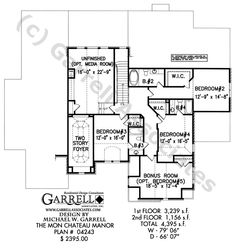 Mon Chateau Manor House Plan # 04243, 2nd Floor Plan, French Style House Plans, European Style House Plans