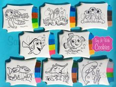 Finding Dory paint your own cookies.  Hand decorated shortbread cookies.