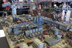 Gigantic diorama showing an attack on a shipment facility - this took 5 Forge World modellers 8 weeks!