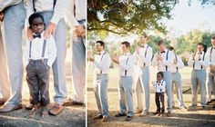 suspenders and bow ties (and a barefoot ringbearer - so cute!)