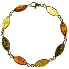 "8"" inch/20cm BALTIC AMBER AND STERLING SILVER 925 LADIES' DESIGNER MULTI-COLOURED BRACELET JEWELLERY JEWELRY Cozmos Bracelets. $57.67"