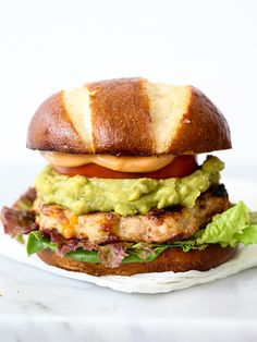 Bacon Cheddar Chicken Burgers with Guacamole and BBQ Mayo