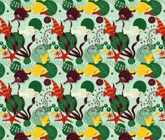 Great Barrier reef (green) fabric by verycherry on Spoonflower - custom fabric
