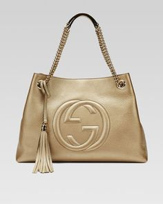 Soho Metallic Leather Tote Bag, Champagne by Gucci at Neiman Marcus. $1295