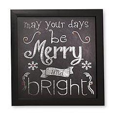 "12"" x 12"" Chalkboard-Look Framed Wall Art - Merry & Bright - $10, KMart"