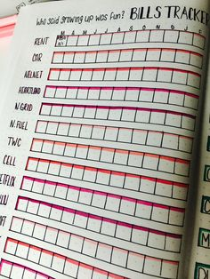 Bills tracker for my Bullet Journal- to help track expenses and plan future spending