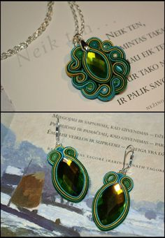 earrings in green . Soutache Pendant, Soutache Earrings, Quilling Jewelry, Jewelry Crafts, Bead Embroidery Jewelry, Beaded Jewelry, Shibori, Soutache Tutorial, Fashion Jewelry