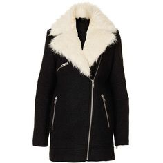 Topshop Removable Faux Fur Zip Detail Coat ($95) ❤ liked on Polyvore featuring outerwear, coats, jackets, oversized coat, faux fur coat, faux fur lined coat, imitation fur coats and fake fur coats