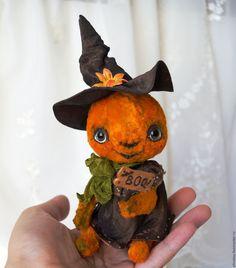Купить Хэлли, добрая тыковка - игрушка на хеллоуин, хелоуин, хеллоуин, рыжий…