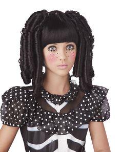 Baby Doll Black Ringlets Curls Wig Girls Fancy Dress Fairytale Halloween Costume