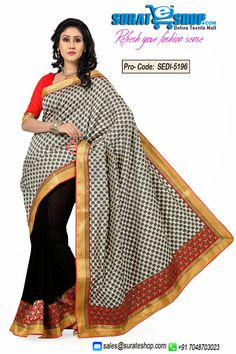 Make The Heads Turn The Moment You Dress Up In This Appealing Black & Off White Art Silk, Chiffon, Jacquard Saree. Beautified With Block Print, Lace Work All Synchronized Properly Through The Pattern And Style And Design Of The Attire. Paired With A Contrast Red Art Silk Blouse  Visit : http://surateshop.com/product-details.php?cid=2_26_66&pid=7484&mid=0