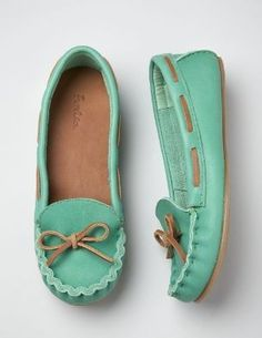 Teal moccasins. So cute!