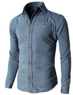 Doublju Men's Denim Slim Fit Button Down Shirts Of Various Design (KMTSTL0198) #doublju