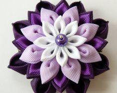 Kanzashi fabric flower hair clip. Purple kanzashi. Purple by JuLVa