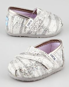 Tiny Zebra-Glitter Slip-On Shoes, Silver by TOMS at Neiman Marcus.