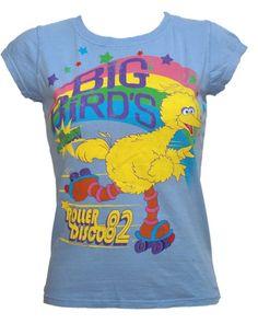 Famous Forever Ladies Big Bird Roller Disco Sesame Street T-Shirt from Famous Forever