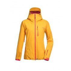 wattierte ski- und snowboardjacke fuer damen in sunflower yellow model leaf von pyua in vorderansicht