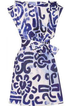 Card printed cotton-poplin dress