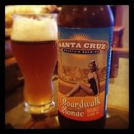New for 2012! Boardwalk Blonde - Double blonde ale by Santa Cruz Mountain Brewing. Available at Surf City Grill here at the Santa Cruz Beach Boardwalk -ds