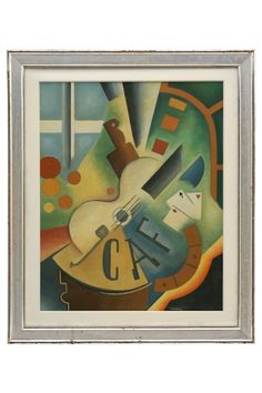 Cubist style gouache painting with guitar, on board, signed Chiokine. France, circa 2000