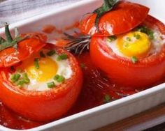 Gefüllte Tomaten mit Ei - Rezepte - Women's Health Whether as finger food at the next party or as a Egg Recipes, Cooking Recipes, Easter Recipes, Dinner Recipes, Snacks Under 100 Calories, Huevos Fritos, Vegetarian Recipes, Healthy Recipes, Delicious Recipes
