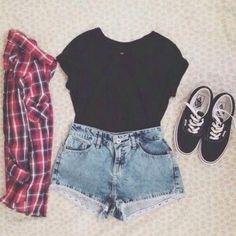 Image via We Heart It https://weheartit.com/entry/143924265 #denim #fashion #girls #highwaisted #love #croptop #checkeredshirt